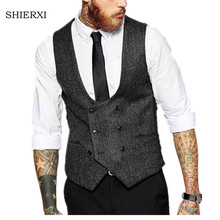 New British Style Slim Woollen cloth Double Breasted Sleeveless Jacket Waistcoat Men Suit Vest Men's Vests(China)