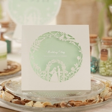 cw006 light green wedding invitation card laser cut paper card with fireworks(China)