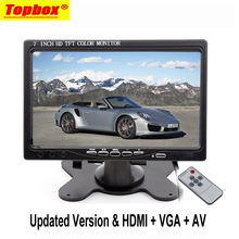 7 Inch TFT LCD Color 2 Video Input PC Audio Video Display VGA HDMI AV Input Security Monitor Screen+Remote Control Car-styling