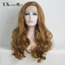 Lace Front Wigs Long Synthetic Blond Hair for Fashion Women Natural Curly Weave Perruque Heat Resistant Christmas Promotion(China)
