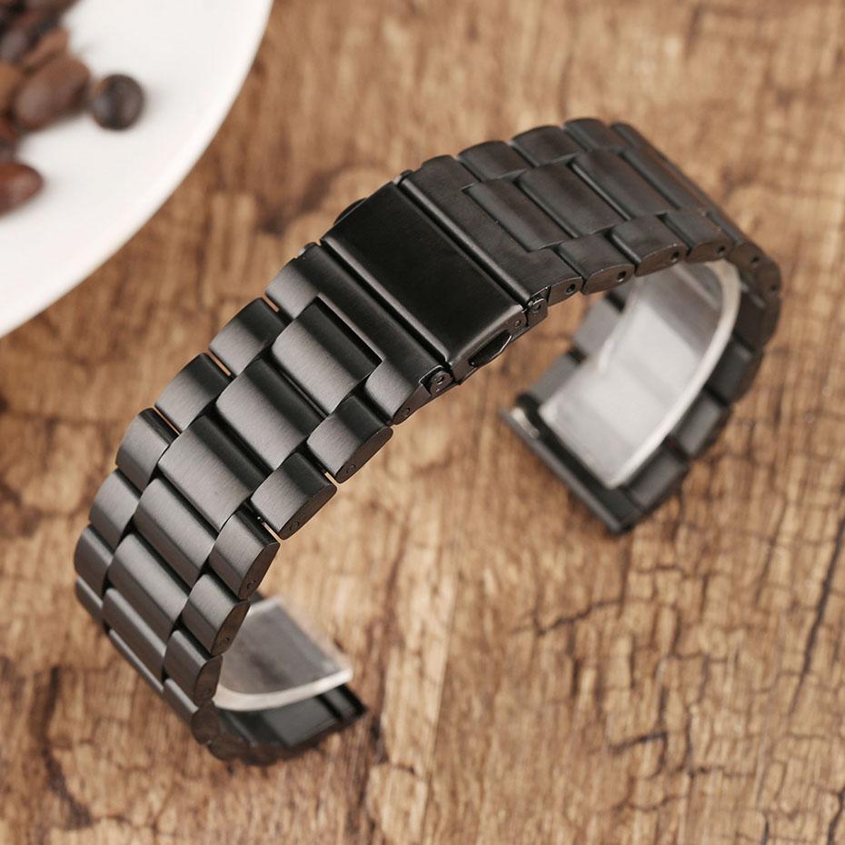 2022 mm Universal Milanese Watchband Quick Release Watch Band Mesh Stainless Steel Strap Wrist Belt Black Bracelet (8)