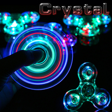 New Crystal LED Hand Fidget Clear Flash Light EDC Finger Tri Spinner For Autism ADHD Relief Focus Anxiety Stress Relax Gift Toys