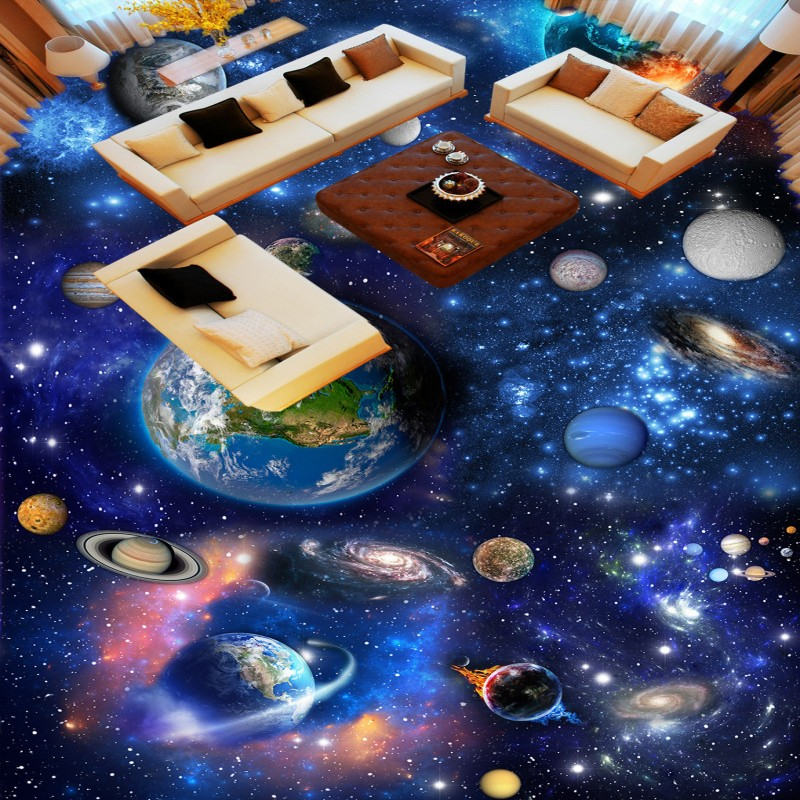 Free Shipping Universe Galaxy 3D flooring painting wallpaper restaurant hotel bathroom self-adhesive wear floor mural<br>
