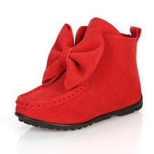 TOP Quality Children Shoes Brand Winter Spring Kids Boots for Girls Flat Solid Bow Boots Trench Kids Brief Shoes Size 21-36(China)