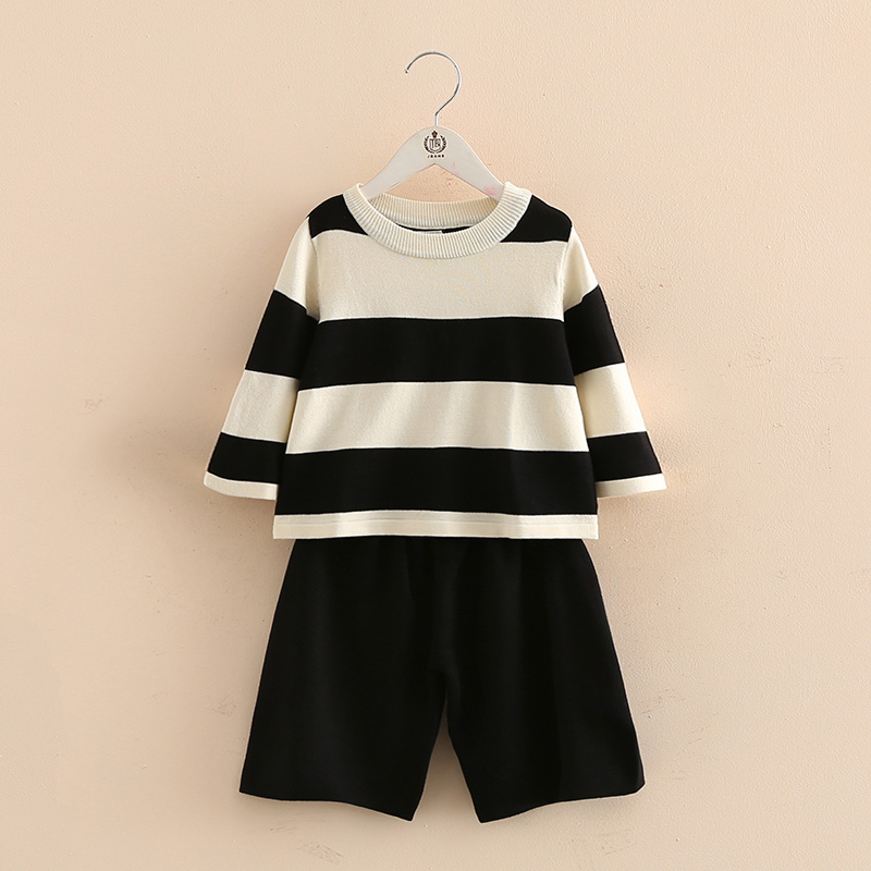 2017 new spring girl baby striped suit kids children casual sweaters wide leg pants tz-3382<br><br>Aliexpress
