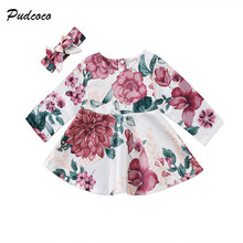 Floral Newborn Baby Dress 2017 Autumn Spring Long Sleeve Princess Girl Party Dresses Headband 2PCS Outfit Sundress Clothes 0-24M(China)