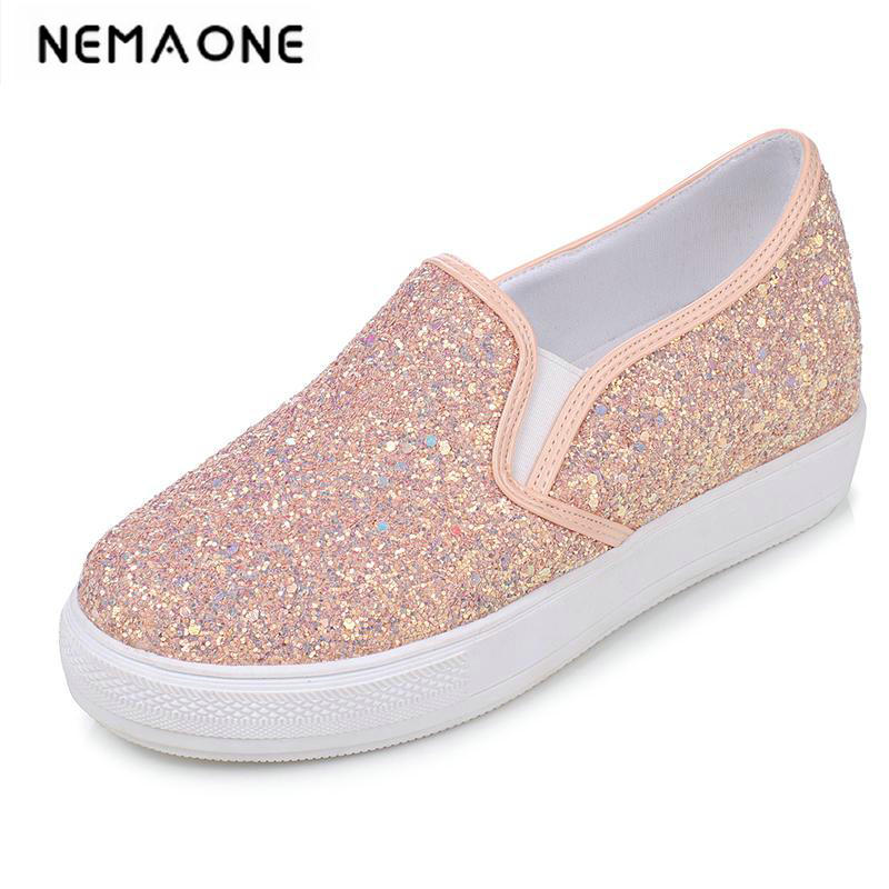 Fashion Glitter Ladies Shoes Casual Platform Shoes Women Flats Slip On Casual Shoes<br>