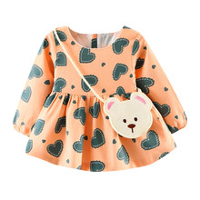 Baby dresses Toddler Baby Girl Heart Print Long Sleeve Princess Dress+Small Bag drop shipping baby girls clothing