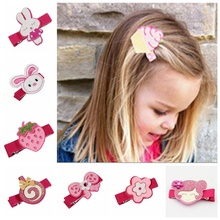 100pcs Random carters Latest cartoon Felt Hair Clips  Girl Hair bow fancy work rabbit/monkeys/Lollipop Hair Accessory FJ3235