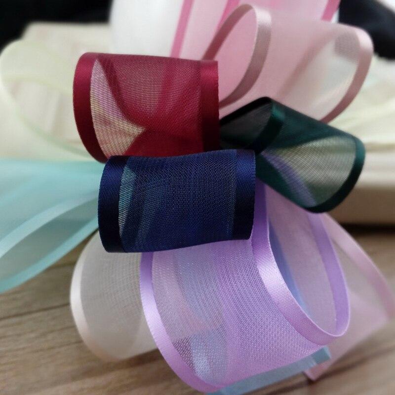 5meter/lot 25/38mm striped snow yarn ribbon Chiffon ribbon diy handmade hair accessories clothing material ribbon satin T-005