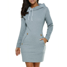 2017 New Arrival Spring Dress Cotton Thin fabric O-neck Long Sleeve Fashion Casual Style Mini Solid Hooded Women's Dress