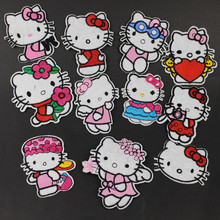 10pcs Hello Kitty Cat Embroidery Patch DIY Patches Cartoon For Clothes Embroidered Clothing Garment Accessory Applique Badge
