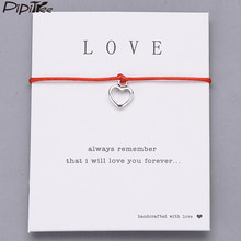 Pipitree Lucky Red String Heart Bracelet For Women Lady Love Wish Bracelets Couple Lovers Jewelry Birthday Wedding Gift