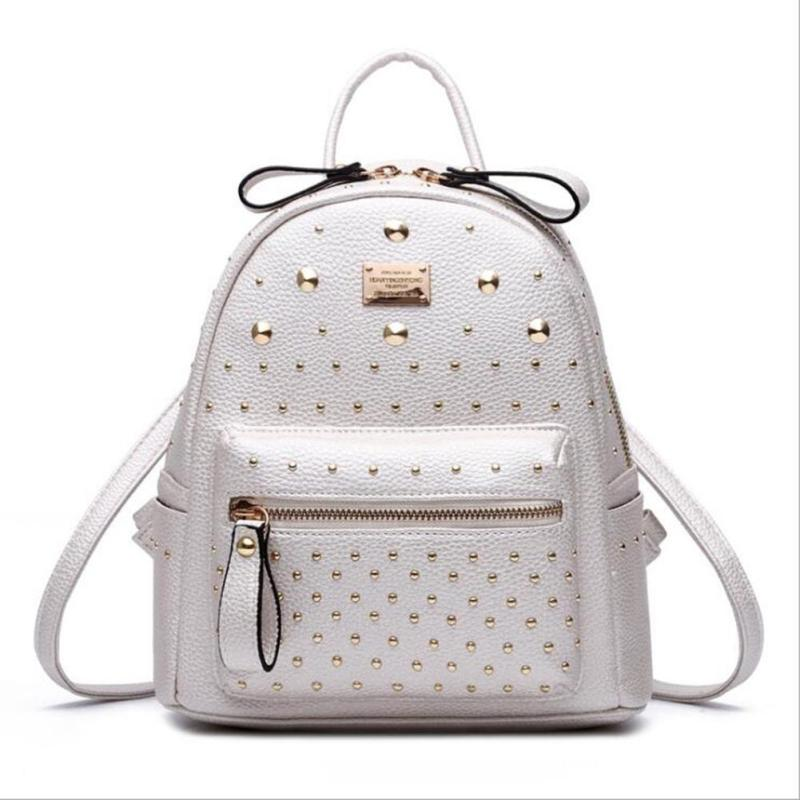 Rivets Backpack Girl College School Backpacks Pu Leather Mochila Escolar Bag Luxury Black Gold Silver Rucksack for Teenage Girls<br>