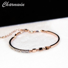 Charmwin Simple Cuff Bracelets For Women New Fashion Brand Rose Gold Color Rhinestone Bracelet Bangles Jewelry TYS00174(China)