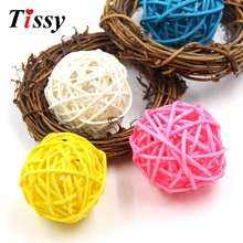 10PCS 5CM Colorful Rattan Ball DIY Ornaments Sepak Takraw Home Ornament Christmas/Birthday Wedding Party Decorations Kids Gifts