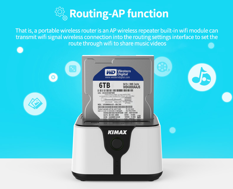 Plastic wifi router sata hdd 2.5″ USB 3.0 docking station external storage hard drive enclosure hard disk case TF SD card reader