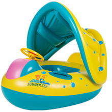 Baby Kids Chair seat Swimming Ring Children Inflatable toy Swimming Circle Rings Rotatable hand handle Sun shading design