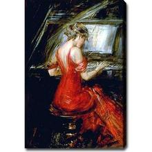Hand-painted Portrait oil painting on canvas (No stretch)Giovanni Boldini Piano red dress woman 24x36inch(China)