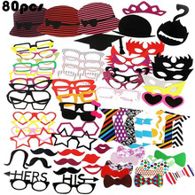 80pcs Party favor Photo Booth Prop Photobooth Funny Mask Bridesmaid Gift Wedding supplies kid birthday Decor Mr Mrs Just Married
