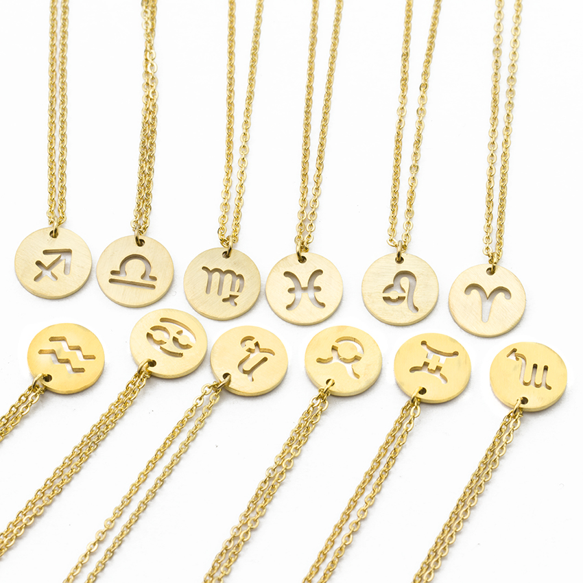 Stainless Steel 12 Constellations Pendant Necklace Zodiac Star Sign Jewellery