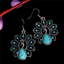 H:HYDE Bohemia Style Peacock Natural Green Stone Classic Pretty Green Stone Earrings for Women High Quality Fashion Jewelry