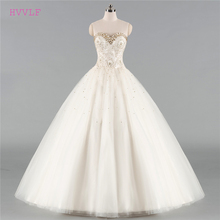 Buy Beige Vestido De Noiva 2018 Wedding Dresses Ball Gown Sweetheart Tulle Lace Crystals Cheap Boho Wedding Gown Bridal Dresses for $130.00 in AliExpress store
