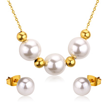 Newest Gold/Silver Freshwater Pearl Jewelry Set,Women Fashion Stainless Steel Sets(China)
