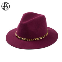 FS Elegant Lady Large Wide Brim Winter Wool Felt Hat Black Burgundy Red Trilby Fedora Hats With Gold Chains For Women(China)