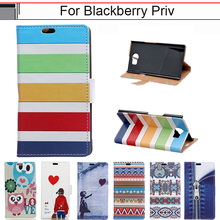 EiiMoo Case For Blackberry Priv / Venice High Quality Cartoon Stand Wallet PU leather Flip Cover For Blackberry Priv Phone Case(China)