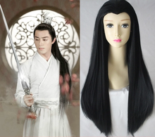 80cm black ancient chinese hair warrior cosplay swordsman cosplay vintage dynasty hair warrior cosplay knight hair(China)