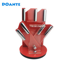 DOANTE Brand Rotation Acrylic Knife Holder Kitchen Knife Block Ceramic Knife Stander Red Color
