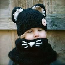 HAPPYTAIL Handmade Winter Hooded Cowl Cute Cat Soft Warm Beanie and Scarf Set for Baby Girls 2-8 Years Kid Knitted Hat