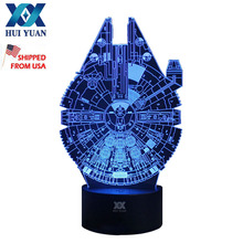 Shipping from to USA Millennium Falcon Remote Control LED Desk Table Night Light 7 Color Touch Lamp Kids Family Holiday Gift(China)