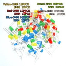 100PC/Lot 3MM 5MM Led Kit Mixed Color Red Green Yellow Blue White Light Emitting Diode Free Shipping