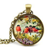 2017 New Trendy Old Paintings Of Birds Necklaces Red Robin Bird Pendant Jewelry Art Glass Dome Necklace Vintage Round Pendants