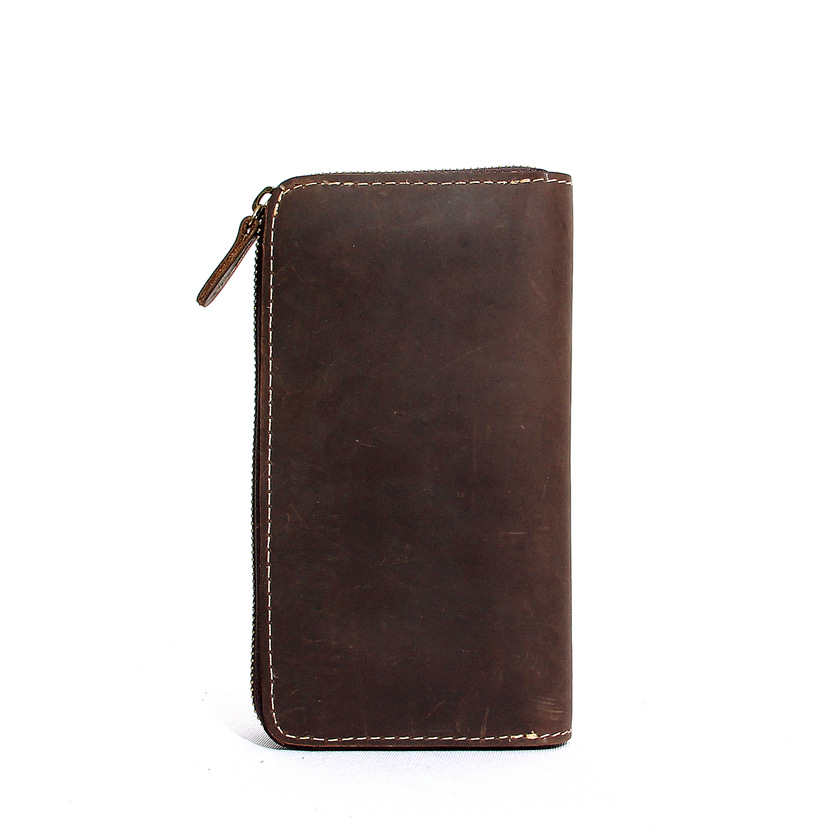YISHEN Vintage Men Clutch Wallets Crazy Horse Genuine Leather Multifunctional Male Long Wallet Phone Position Coin Pocket MS6802<br>