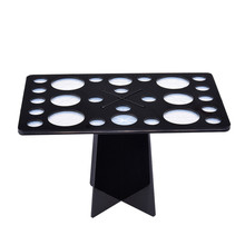 26 Holes Black Acrylic Makeup Brushes Holder Stand Collapsible Air Drying Makeup Brush Organizing Rack Cosmetic Holder stander