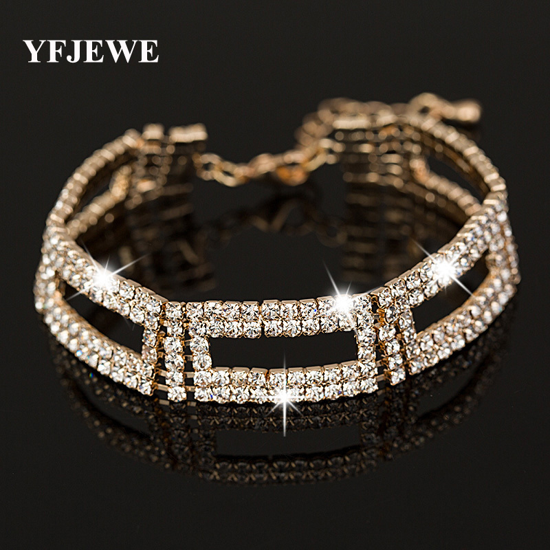 YFJEWE Top AAA Roman Chain Bracelet & Bangle Women Crystal Gold Silver Plating Wedding Accessories Jewelry #B048