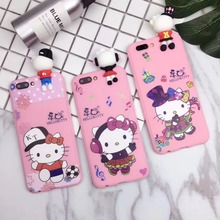 3D Hello kitty Phone Case Silicone Design cute Cover for iphone 7 7 Plus hot korean cat design pattern exquisite Cover