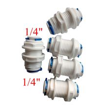 "Pack of 5 1/4"" OD Tube RO Water Straight Bulkhead Fittings Quick Connector RO Water System ROBU-2-2"