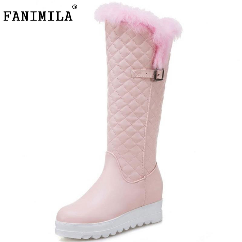FANIMILA Size 34-43 Ladies Thick Fur Knee High Snow Boots Women Thick Platform Slip On Shoes Women Warm Plush Winter Botas<br>