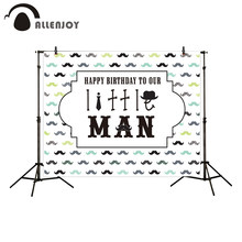 Allenjoy kids background for photography happy birthday to our little man colorful Moustache backdrop photo studio photocall(China)