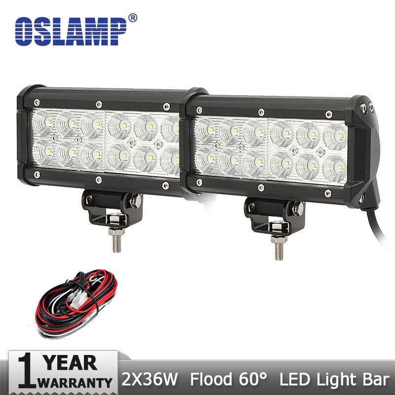 Oslamp 2x36W CREE Chips LED Light Bar Flood Beam Offroad ATV Car Led Work Light Bar 12V 24V Truck SUV 4x4 4WD Headlight Fog Lamp<br><br>Aliexpress