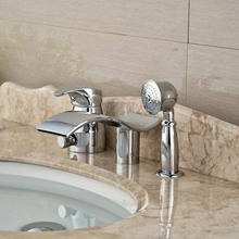 Chrome Brass Waterfall Bathroom Tub Faucet 3 pcs Vessel Sink Mixer Tap Diverter Unit(China)