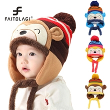 Kids Boys Girls Cartoon Kawaii Monkey Hats Winter Thick Warm Hats Ear Warmer Cotton Cute Caps Christmas Gift(China)