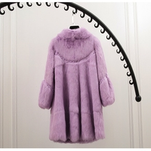 2016 new  autumn and winter real rabbit  fur coat jacket and long sections loose large size women