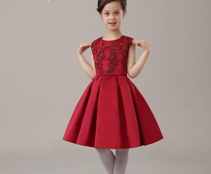New Summer Costume Girls Princess Dress Childrens Evening Clothing Kids Chiffon Lace Dresses Baby Girl Party Red Pearl Dress<br>