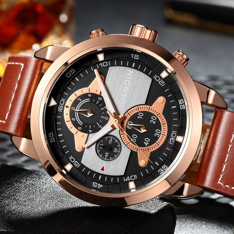Genuine GUANQIN Brand Chronograph Luminous Hands Clock Men Military Sport Retro Leather Waterproof Wristwatch relogio masculino<br>