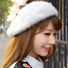 2015 Fashion Women's Fedoras Wild Casual Cute Beret Popular Tide Pure Angora Ladies Winter Fur Hat Free Shipping